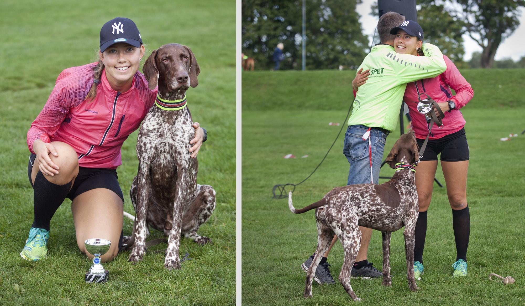 Madelene Nord som vann 5 kilometersbanan med hunden Eros gratuleras av Hundlöpets arrangör Thomas Melén.