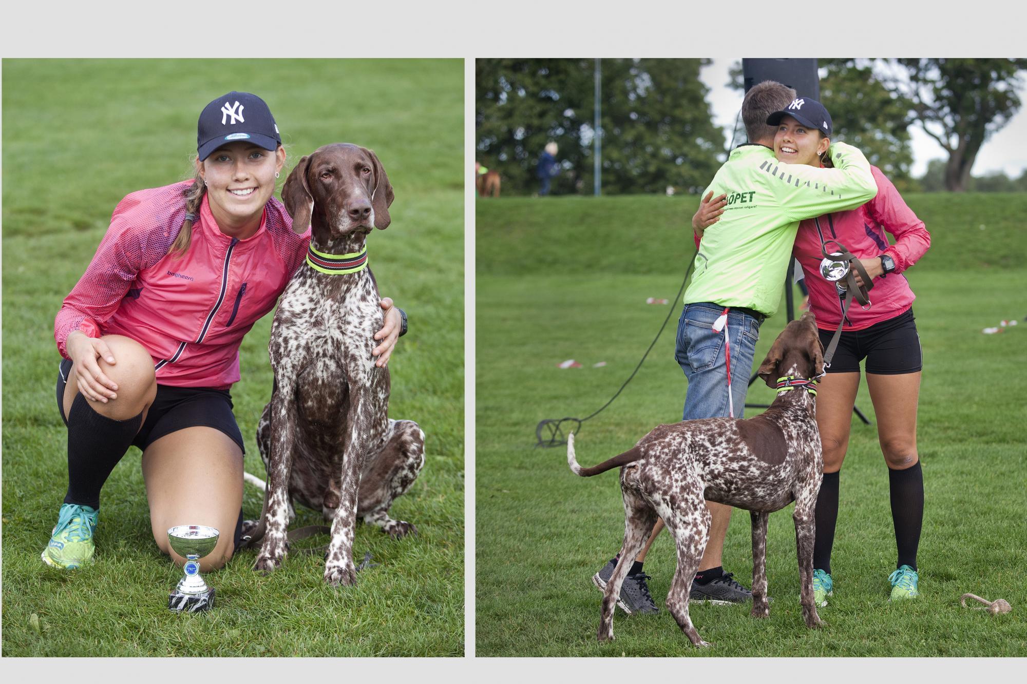 <span>Madelene Nord som vann 5 kilometersbanan med hunden Eros gratuleras av Hundlöpets arrangör Thomas Melén.</span>