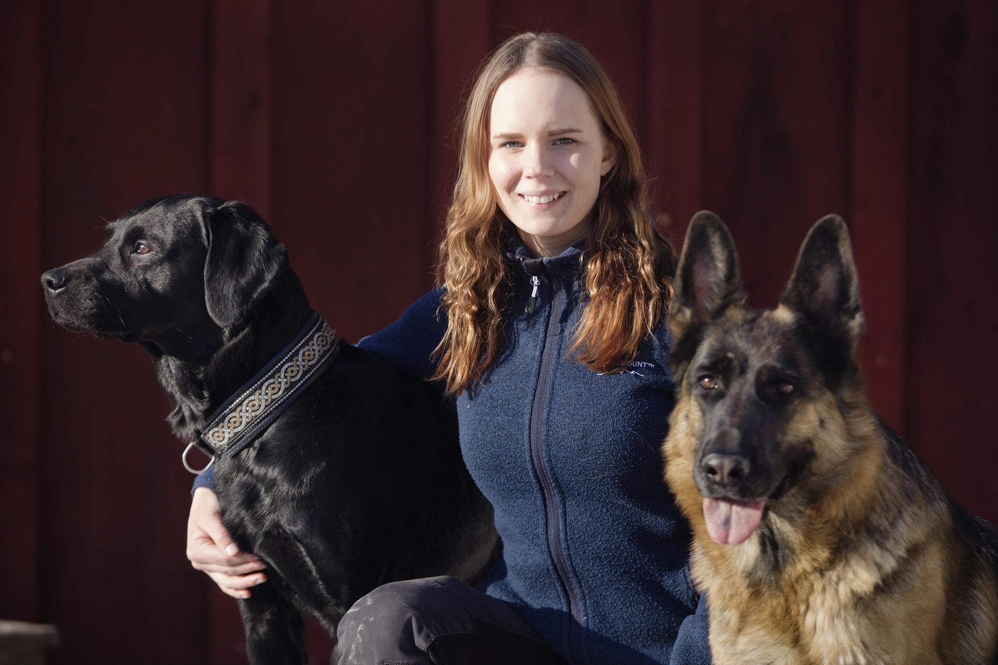 Lilly Röök Sahlin skall tävla i SM för skolhundar med Labradoren Tano,\