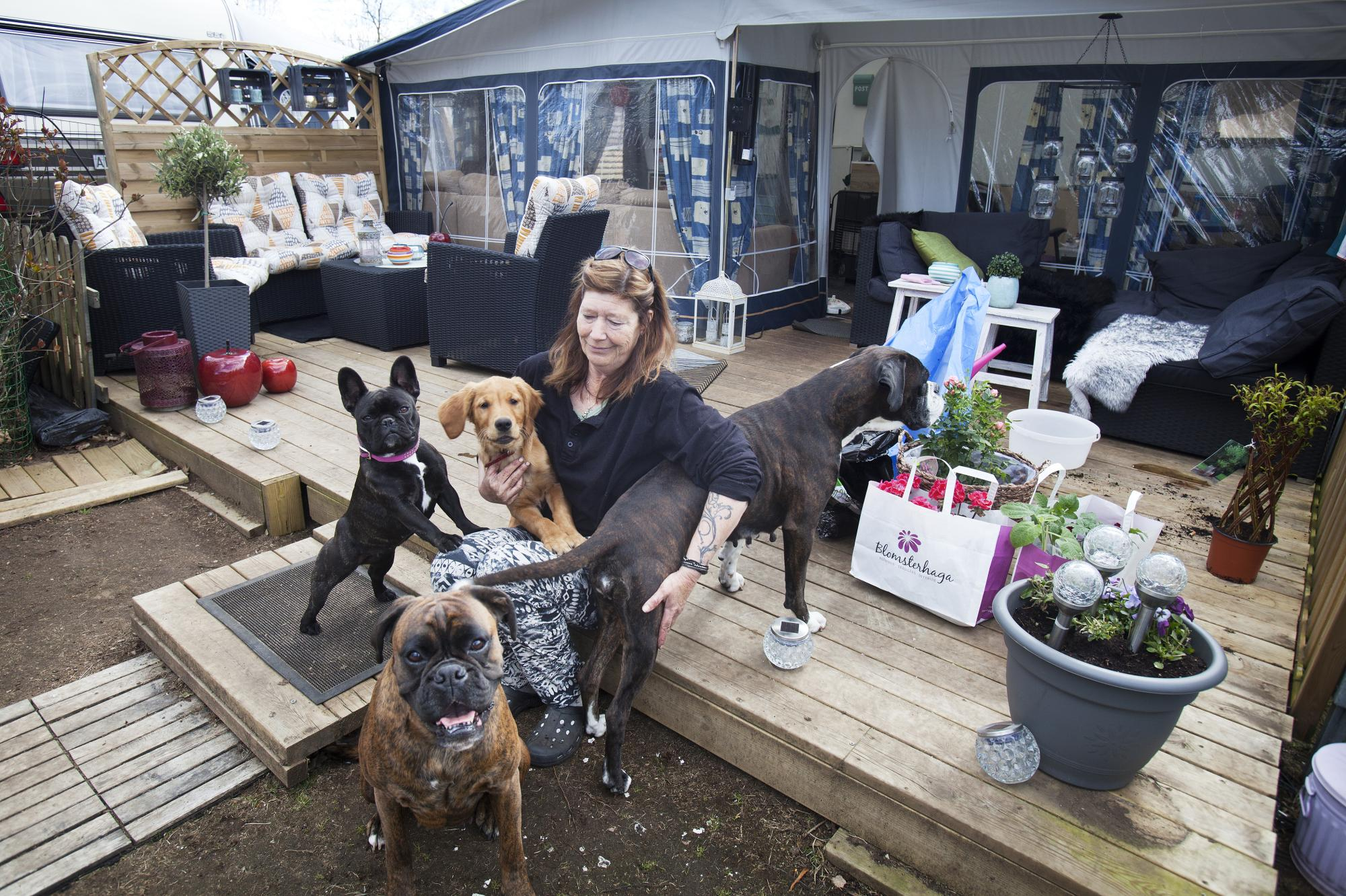 Maria Spång är säsongsboende på campingen med alla sina hundar och brukar vara med på det som händer.