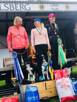 """Sarah Karlsson med Exxi, """"My Nr One Exxi"""" vann lydnaden med 298,19 poäng. Vinnarparet tillhör Osby BK. Maria Brandel & Oj, """"Bryggarskogens Oj"""" från Kungsörs BHK fick silvermedalj och Maria Takapuro från Kungsörs BHK på 3e plats."""