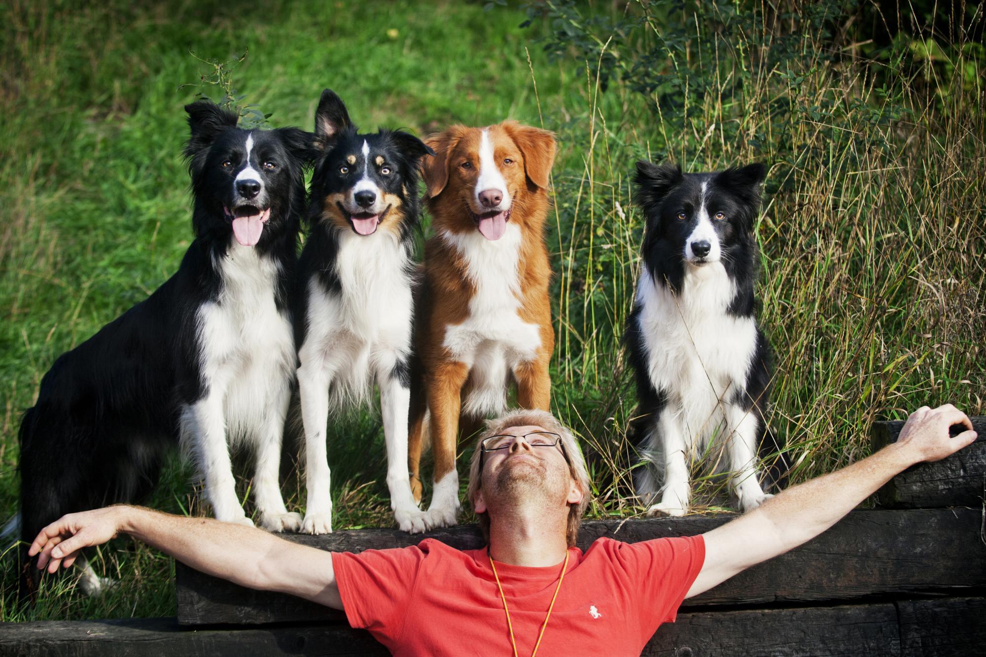Kenth tillsammans med hundarna Jippie, Feo, Skoj och Kes. Titta på bilden, visst kan man nästan ana de olika hundarnas personlighet? Jippie är orädd och lättsam, Feo gladlynt, Skoj är positiv men inte så bra på att ta motgångar och Kes en smula lynnig och misstänksam.